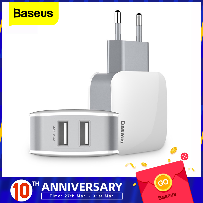 Baseus Dual USB Charger For iPhone Samsung Travel 2.4A Wall USB USB Charger Adapter Mobiltelefon Laddare För Smartphoner US EU Plug