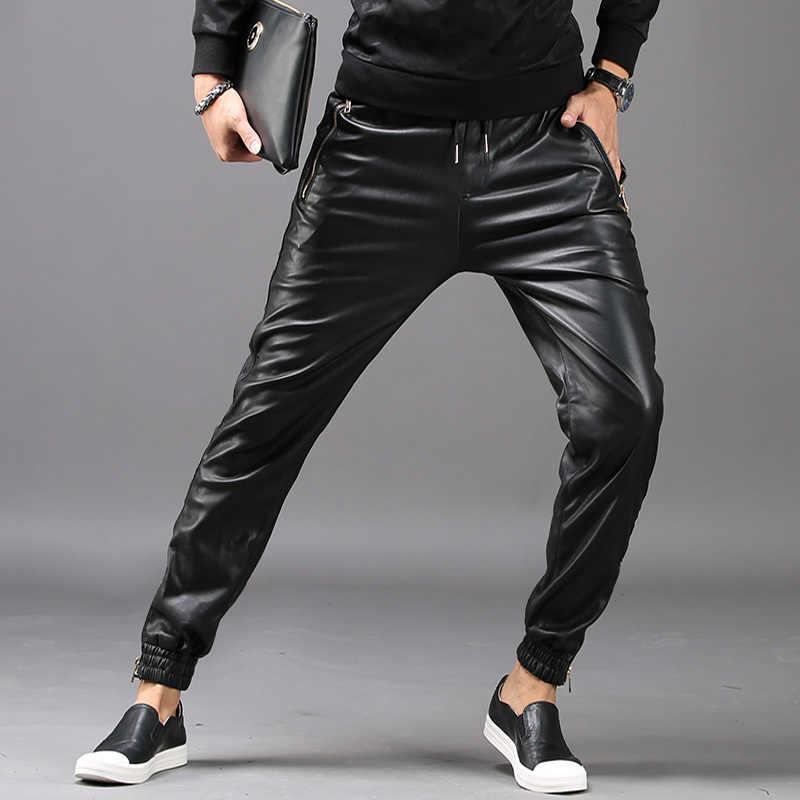 2020 新ファッションメンズヒップホップハーレムパンツフェイクレザーロングパンツ男性ポケット弾性ウエストパンタロン Hombre プラスサイズ
