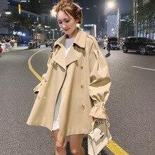 New Double Breasted Short Trench Women Fashion Khaki Oversiz