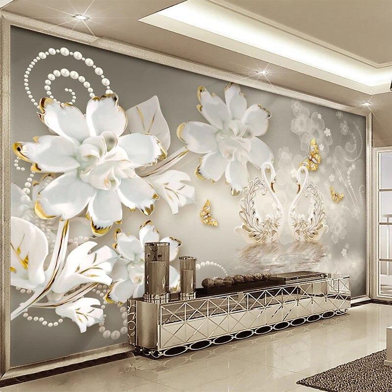 Custom Mural Wallpaper 3D Relief Swan Lake Jewelry Diamond Murals Living Room TV Sofa Bedroom Luxury Home Decor Papel De Parede