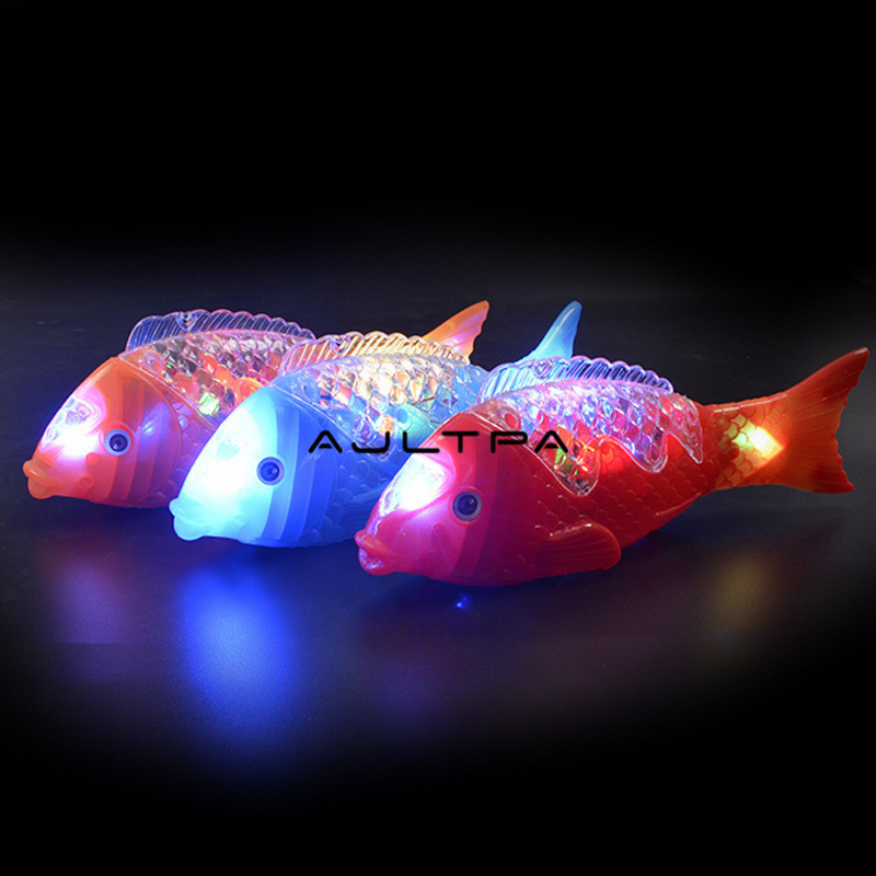 216pcs/lot New Style Projection Electric Fish The Mid-autumn Festival Lantern Music Sway Fish Glowing Toy Free Fish Stall