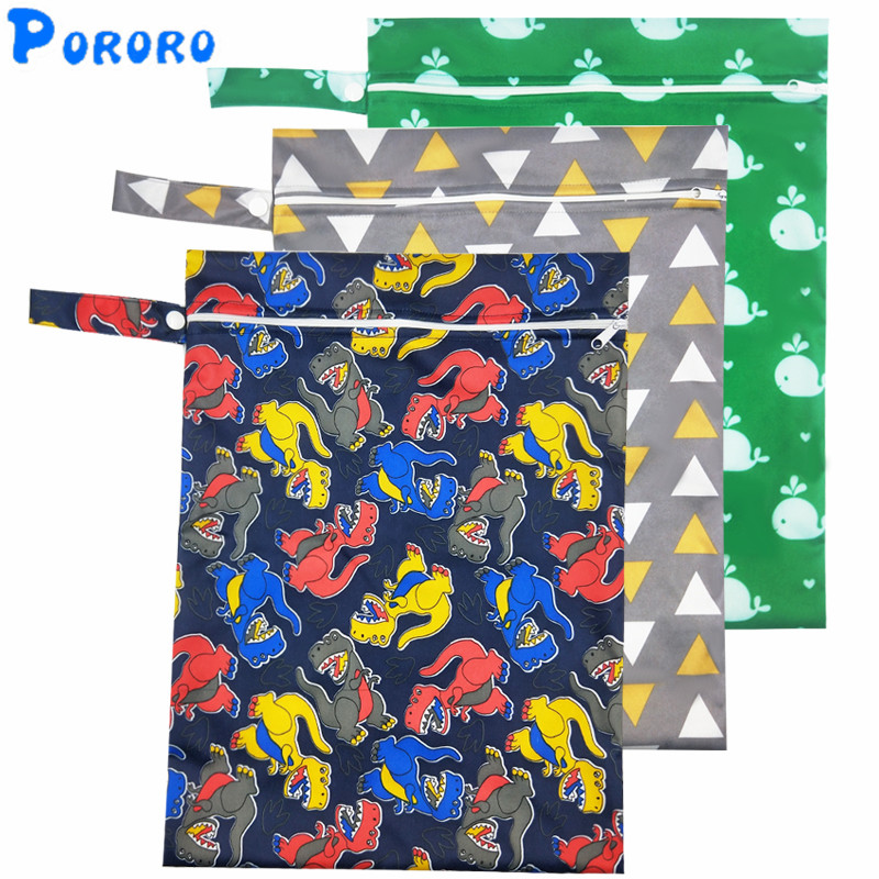 PUL Wet Bag Waterproof Baby Cloth Diaper BagS Print Pockets Zipper Reusable Nappy Diaper Rubbish Wet Dry Wet Bag 30x40cm