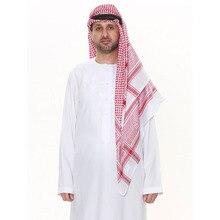 3colors Square Scarf for Muslim Man Red/black/white Islamic Traditional Costumes Male Hijab Prayer Head Scarf Keffiyeh Ramadan
