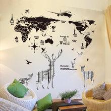[shijuehezi] карта мира наклейки на стену diy олень животное