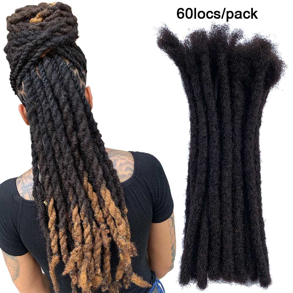 YONNA 100% Remy Human Hair Medium Size (0.8cm Width) Dreadlocks Extensions Full Handmade SOLD 60 LOCS IN A BUNDLE
