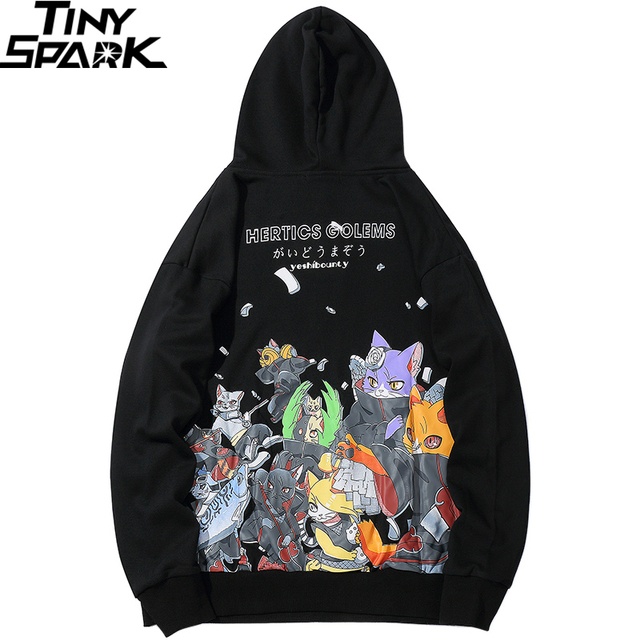 Men Hip Hop Hoodie Sweatshirt Anime Cat Japanese Cartoon Streetwear Harajuku Hoodies Pullover Loose Autumn Black Sweat Shirts