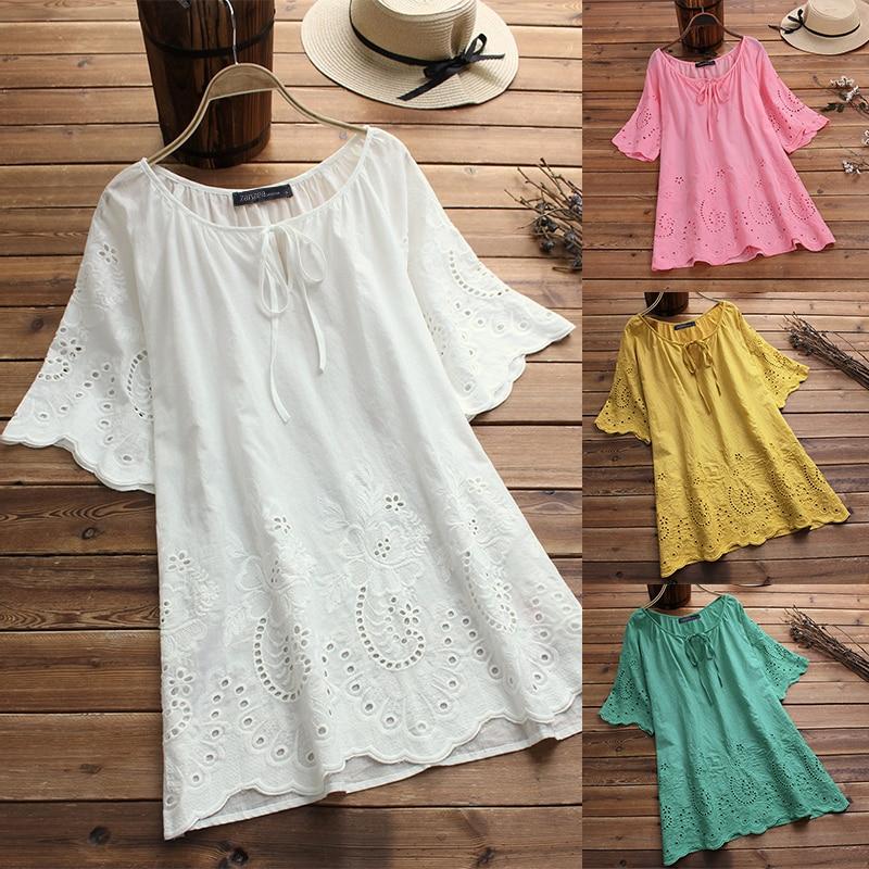 Summer Top Women Embroidery Blouse 2019 ZANZEA Fashion Tunic Hollow Casual Blusa Female Short Sleeve Shirt Plus Size Tunic S-5XL