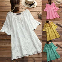 Summer Top Women Embroidery Blouse 2019 ZANZEA Fashion Tunic Hollow Casual Blusa Female Short Sleeve Shirt Plus Size Tunic S-5XL