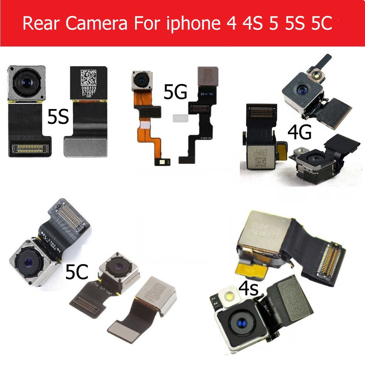 Genuine Main Back Camera For Iphone 4 4s 5 5s 5c Rear Camera With Flex Cable Facing Model 100% Tested Cell Phone Parts
