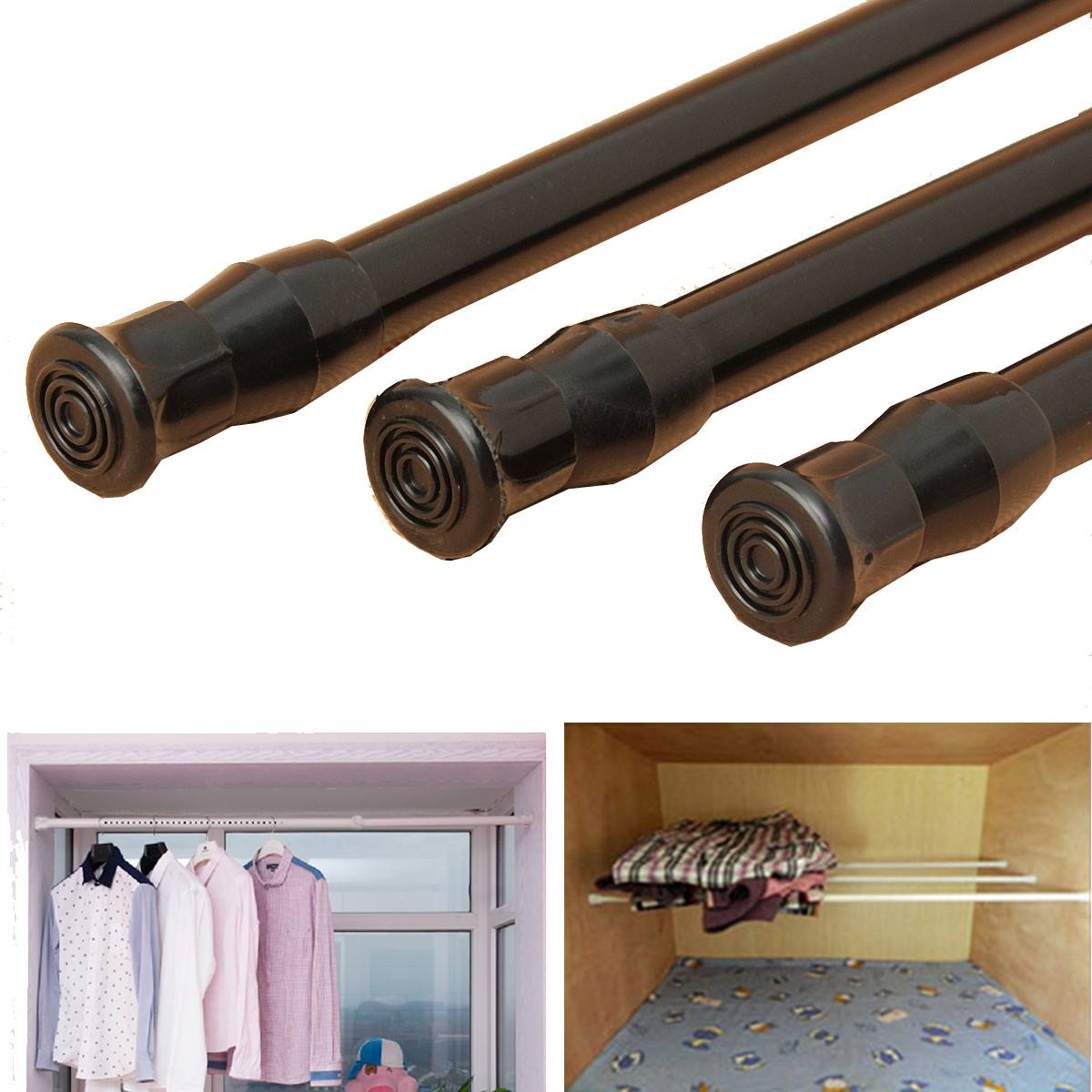 Black Extendable Adjustable Spring Tension Rail Telescopic Pole Window Curtain Shower Curtain Rod Wardrobe Bathroom Products