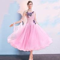 High Quality Rhinestone Embroidery Ballroom Dance Dresses Women TUTU Clothing Waltz Tango Stage Performance Dance Dress DWY2176