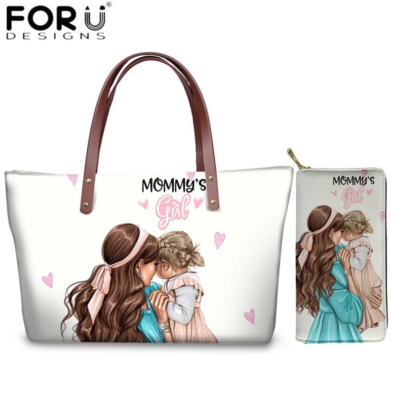 FORUDESIGNS Black Brown Hair Baby Mom Girls Print Handbags Set Brand Design Travel Shoulder Bags For Women Large Top-handle Bag