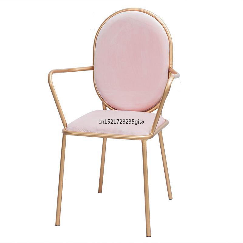 Nordic simple gold dressing chair creative personality dining chair leisure table and chair office chair computer desk chair|Café Furniture Sets| |  - title=