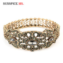 Flower Bangle Bracelet Turkish-Cuff Sunspicems Antique Wedding-Jewelry Crystal Ethnic