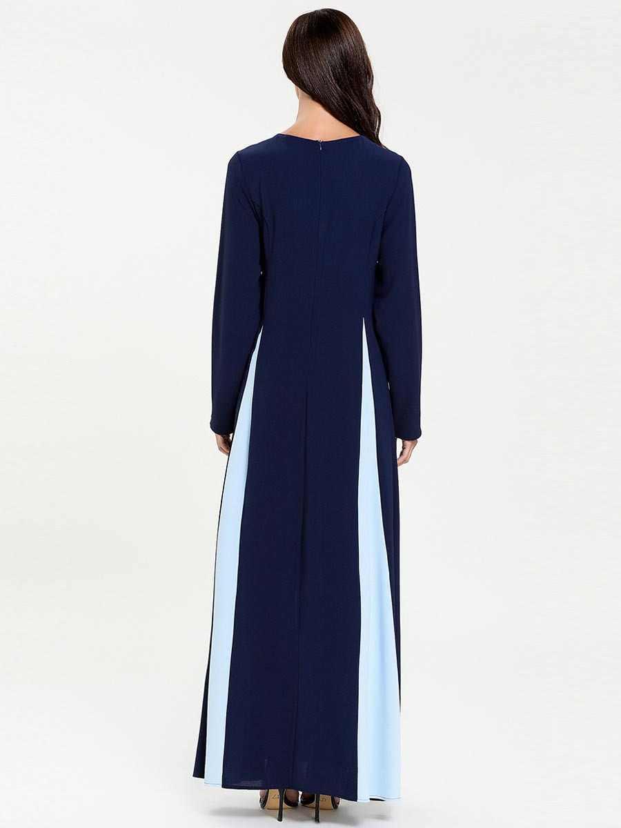Artı boyutu müslüman sahte iki parçalı Maxi elbise kadınlar kabile tarzı nakış bölünmüş başörtüsü elbiseler Musulman Kimono İslam giyim