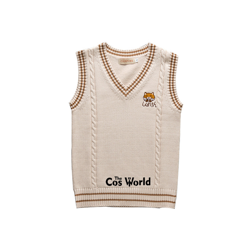 S-XXL Spring Autumn Cute Puppy Sleeveless Knit Vests Pullovers V Neck Sweaters For JK School Uniform Student Clothes