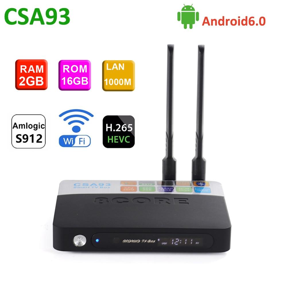 CSA93 Android Tv Box Amlogic S912 octa-core 64 bits 2GB 16GB 2.4G/5.8G double WIFI LAN 1000M bluetooth oth4.0 4k HD H.265 décodeur