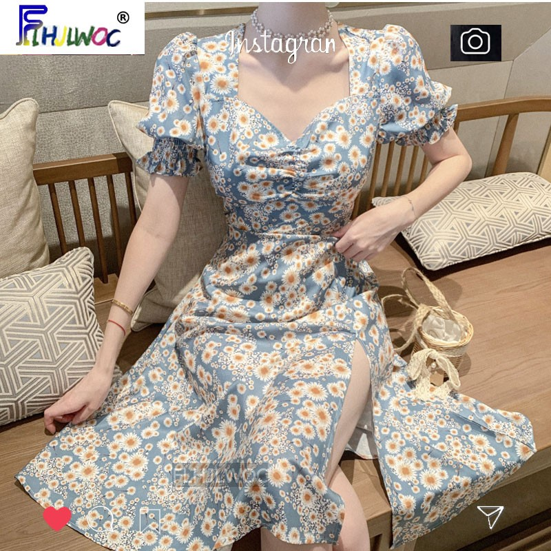 Long Beautiful Dresses Hot Women Summer Korean Japanese Temperament Lady Flhjlwoc Floral Vintage Chic Split Dress Fashion Vestid