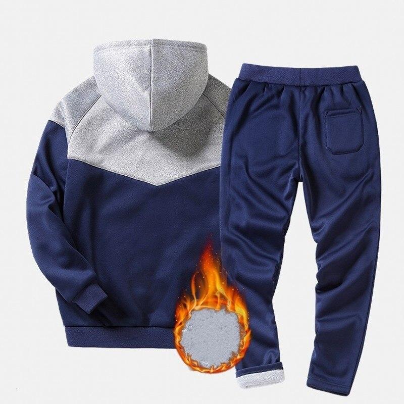 Fashion Winter Men Sets Jacket+Pant Thick Sweatsuit 2 Piece Set Tracksuit For Man Costume Sporting Homme M-4XL Male Zipper Blue