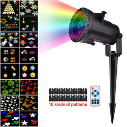 Projektor laserowy na Boże Narodzenie światła pilot zdalnego sterowania RF 16 wzór filmy projektor światła sceniczne DIY reflektor wakacje dekoracji lampy