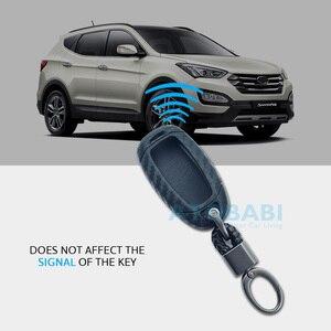 Image 4 - Karbon silikon araba anahtarı durum için Hyundai Elantra GT Kona 2018 2019 Santa Fe Veloster akıllı uzaktan Fob kapak koruyucu anahtar çantası