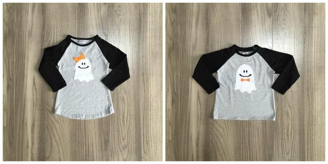 Girlymax fall Halloween baby girls boys boutique t-shirts clothes skull ghost bow grey cotton top children raglans long sleeve 1