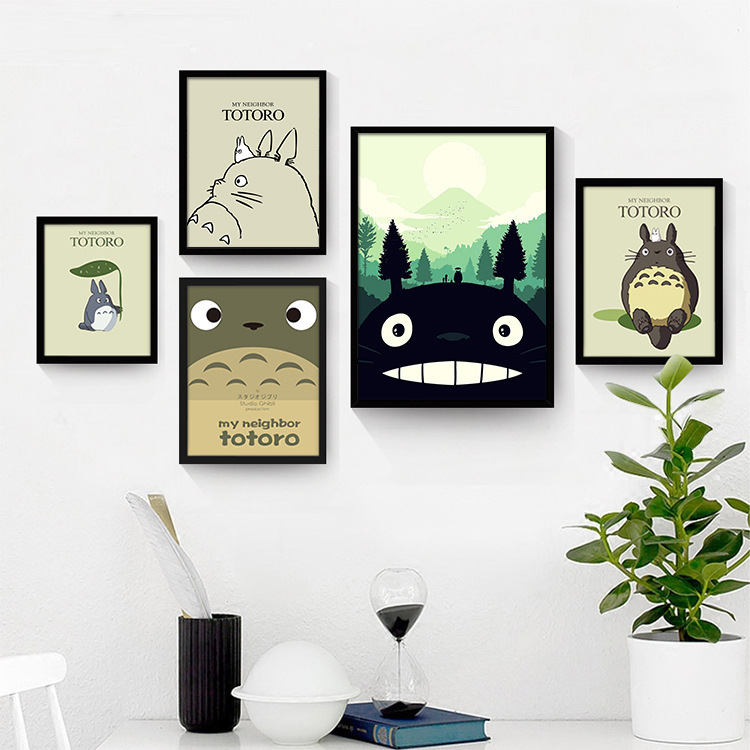 New Nordic popular Hayao Miyazaki anime movie poster Totoro decorative painting core home decoration painting core image
