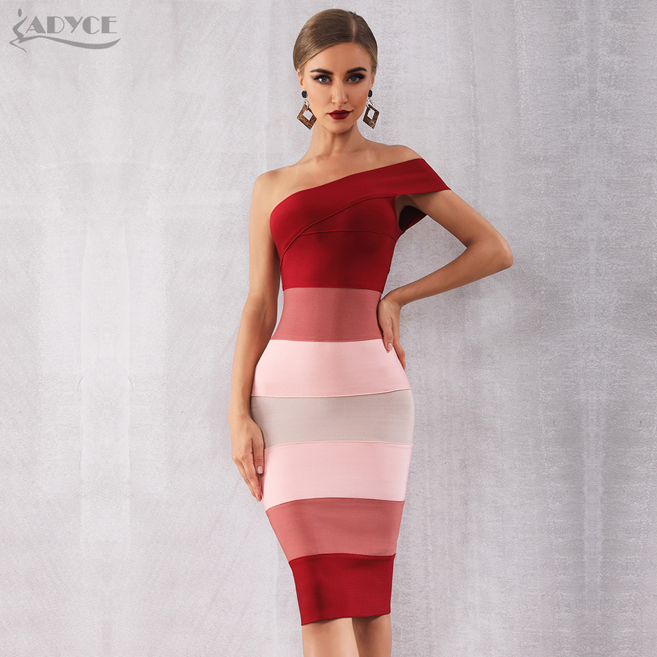 Adyce 2020 New Summer Women Bandage Dress Vestidos Sexy One Shoulder Sleeveless Midi Club Dress Celebrity Evening Party Dresses