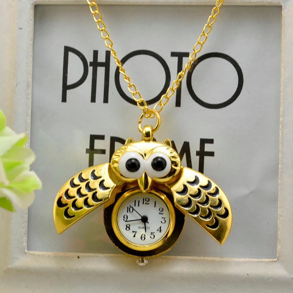 Vintage Style Retro Slide Owl Pendant Long Necklace Analog Pocket Watch Gift Nightmare Before ChristmasWorld Of WarcraftHOT XQ