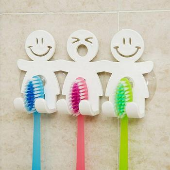 Toothbrush Holder Wall Mounted Suction Cup Family 5 Position Cute Cartoon Smile Suction Hooks Tooth Brush Holder Bathroom Sets image
