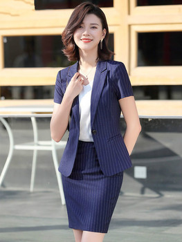 2020 Business Suit Female Summer New Short-Sleeve Suit Formal Striped Interview Work Clothes Suit Skirt Women Professional Wear formal work wear uniform styles professional spring summer business suit vest skirt ol blazers women skirt suits outfits sets
