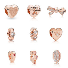 Original 925 Sterling Silver Bead Charm Rose Gold Bow Heart Snowflake Crystal Bead For Women Diy Pandora Charm Bracelet Necklace original 925 sterling silver beads charm blue crystal 925 heart snowflake bead for women diy pandora charm bracelet necklace