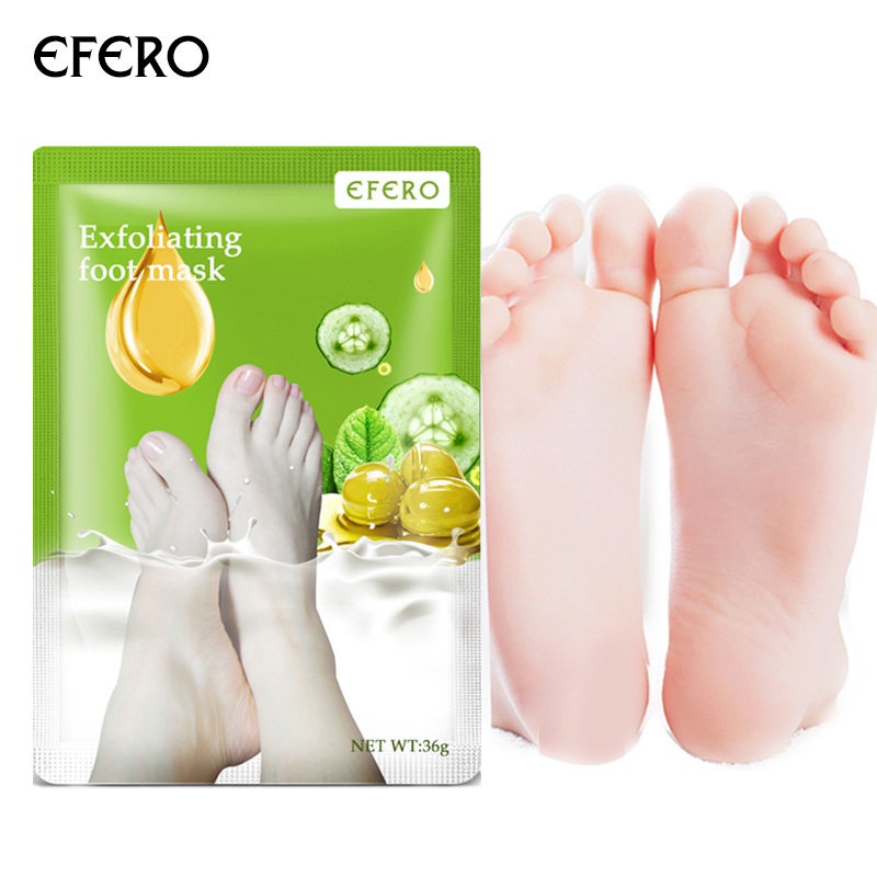 EFERO 3Pair=6PCS Peeling Foot Mask Exfoliating Scrub Pedicure Spa Socks Foot Peel Feet Care For Heels Remove Dead Skin Moisture