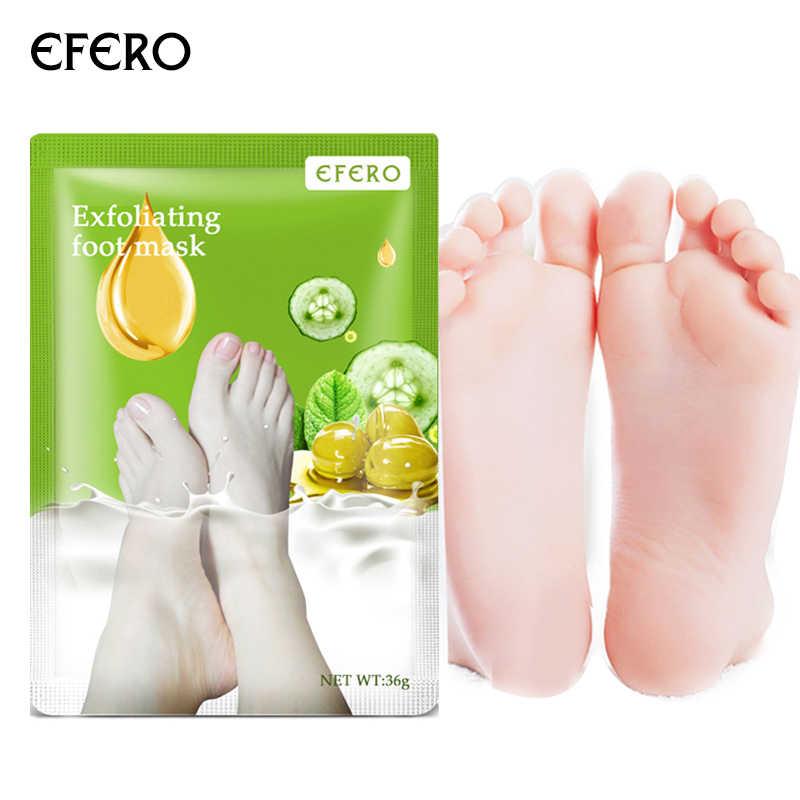 Efero máscara de descamação para pés, 3 pares = 6 peças, esfoliante, pedicure, spa, peel, cuidados com os pés para calcanhares hidratação da pele morta