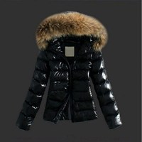 RICORIT Winter Women Outwear Jacket Casual Padded PU Leather Jacket Solid Hooded Long Sleeve Zip up Thick Warm Slim Short Coat