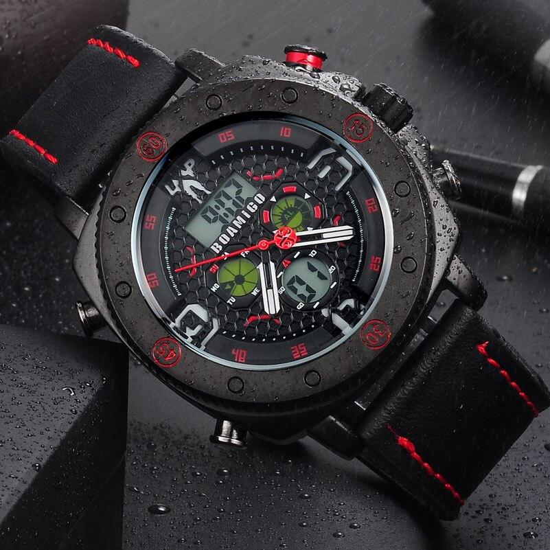 BOAMIGO  Hot Men Watches Fashion Casual Bussiness Quartz Watch Men Military Chronograph Sport Digital Wristwatch Reloj Hombre