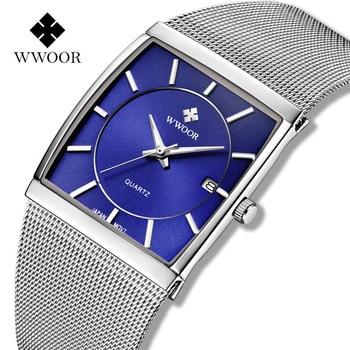цены WWOOR Mens Square Watch Luxury Blue Slim Quartz Business Watches For Men Steel Mesh Luminous Waterproof Clock relogios masculino