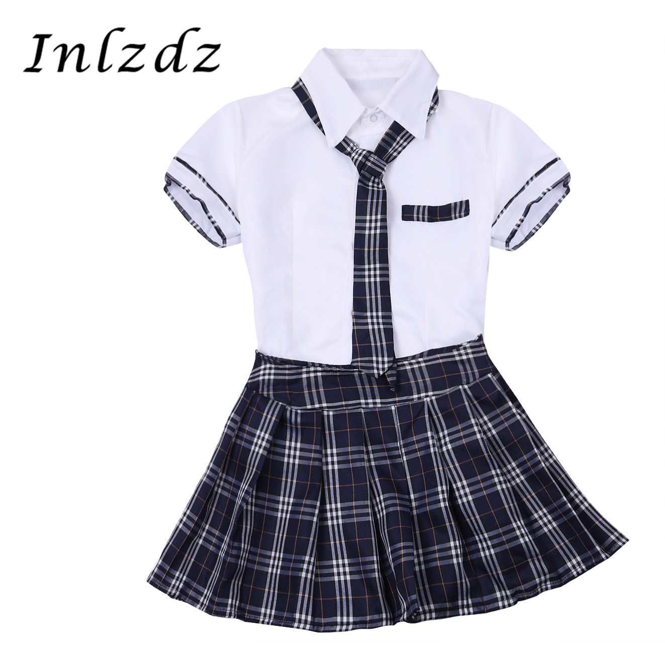 Women Girls Japanese School Uniform Students Class Clothing Cosplay Costume Short Sleeve Shirt With Plaid Skirt Sailor Suit