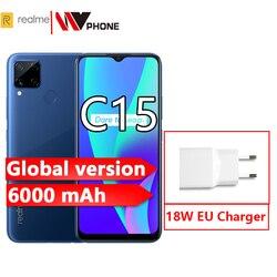 Realme C15 глобальная версия 4 Гб 64 Гб 6000 мАч батарея 13MP Quad Camera 6,5 ''полноэкранный 3 слота для карт Helico G35 Восьмиядерный