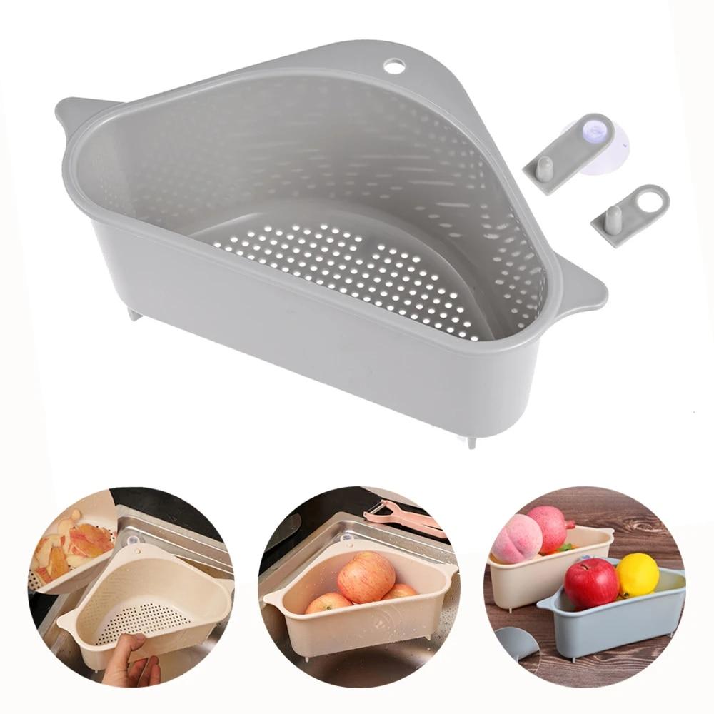 triangular sink strainer drain fruit vegetable drainer basket suction cup sponge rack storage kitchen tools sink filter shelf