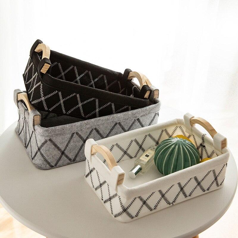 New Felt Table Storage Basket Quality Desktop Storage Basket Sundries Storage Box Cosmetic Snacks Toy Box Container Organizer