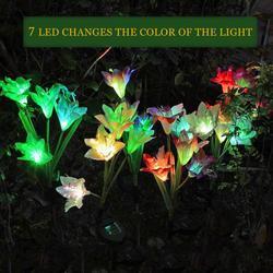 Ziemi wstawianie trawnik LED światła wodoodporna zasilany energią słoneczną sztuczny kwiat światła cztery głowice ogród lampy dekoracyjne|Lampy LED na trawnik|Lampy i oświetlenie -