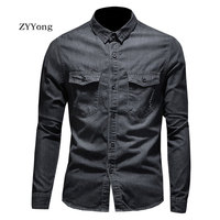 Autumn European Style Fashion Bomber Pilot Long Sleeve Black Denim Shirt Men Jean Coat Motorcycle Casual Youth Cowboy Clothing