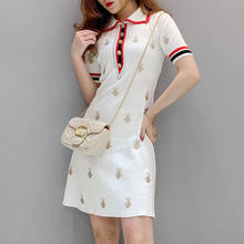 2021 Spring and Summer Knitted Cartoon Embroidered Polo Dress Female Plus Size Black Casual Knee-length Straight Dress Female