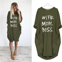 2019 Dress Wife Mom Boss Letters Print Pocket Vintage Summer Fall Maxi Clothes Women Dresses Party Plus Size Woman