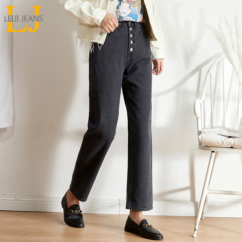 LEIJIJEANS New No Elastic High Waist Loose Classic Straight Jeans Five Rows Of Buttons Jeans Pocket Nail Button Cool Girl Jeans