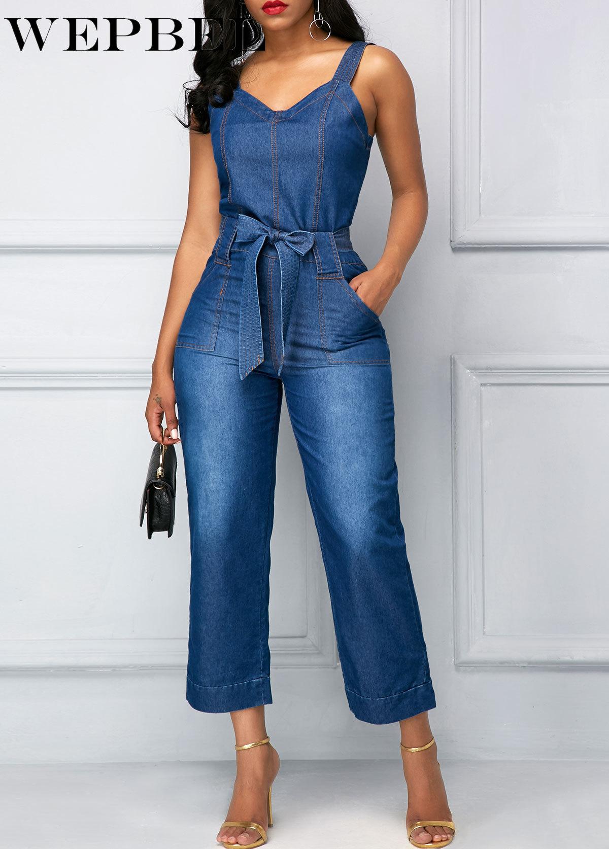WEPBEL Female Casual Loose Pocket Washed Denim Rompers Jeans Women Spring Summer Vintage Strap Denim Jumpsuits Overalls