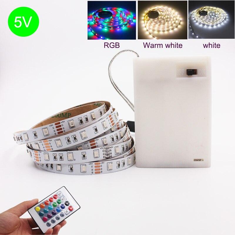 3AA batería 5V USB LED tira 2835 DC LED luz Flexible 50CM 1M 2M 3M 5M blanco cálido RGB para iluminación de fondo de TV luz nocturna