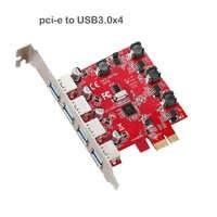 Tarjeta de expansión PCI-E USB3.0 Hub, 4 puertos, PCI express, Vista Riser, PCI-E, Windows XP, Win7/8/10, X1, X4, X8, X16, adaptador para escritorios
