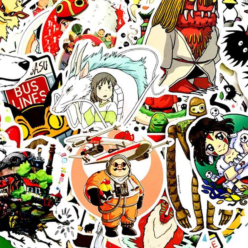 50pcs Anime Manga Miyazaki Hayao Cartoon Stickers for Mobile Phone Laptop Luggage Suitcase Guitar Sk